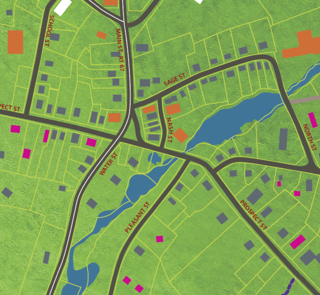 Modern GIS map detail of center of Village for North Bennington.