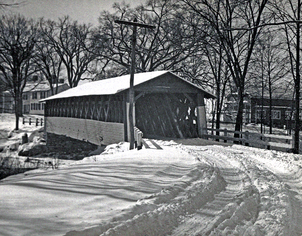Burt Henry Bridge in winter circa 1950
