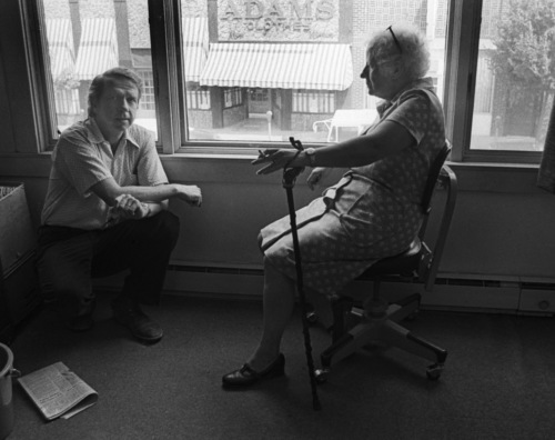 Ralph Wright and Elizabeth Dwyer in The Banner office.