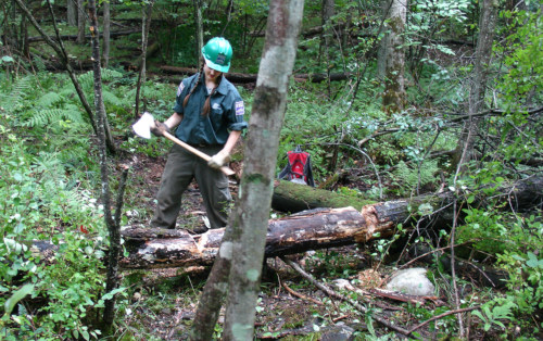 Vermont Youth  Conservation Corps member building trail, 2008.