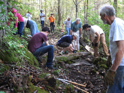Volunteers work on trail, 2011.