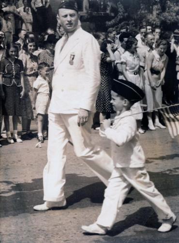 Bob Cummings, Jr. and his father, 1940s, Bennington.