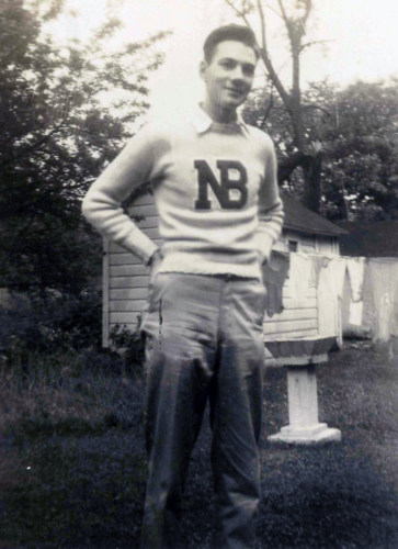 Bud Porter, 1945, with school sweater.
