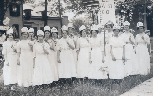EZ Waist Co. workers. Coney Fruitrich Vail 2nd from the left, and her sister Helen in the center front.