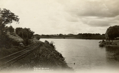 East end of Lake Paran with rail track, about 1915.