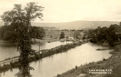 East end of lake looking toward mountains, about 1915