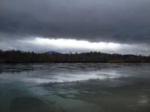 February twilight with ice.