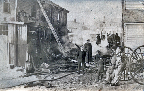 Fire scene, Lincoln Square, c1910.
