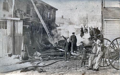 Fire scene, Lincoln Square, c1910.