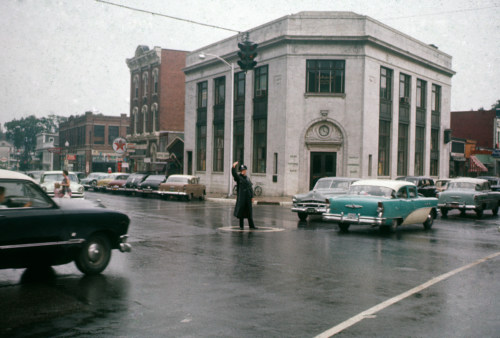First National Bank and officer, Putnam Square, Bennington. Officer Jimmy Delong.