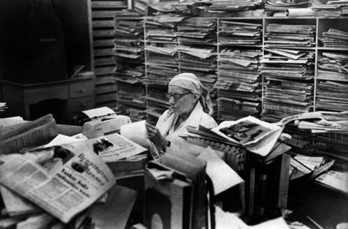Elizabeth Dwyer at her editorial desk at The Bennington Banner.