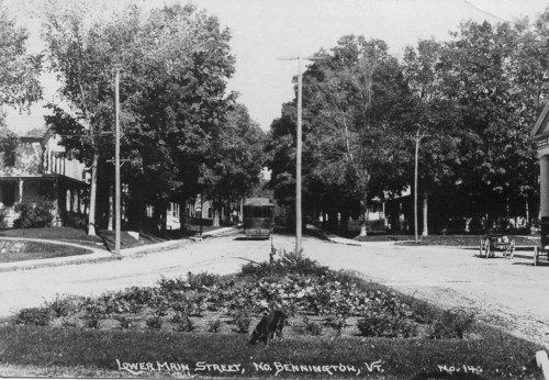 Lower Main Street and trolley, c1921.