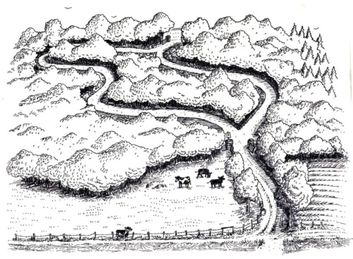 Drawing for Mile-Around Woods sign, 1995.
