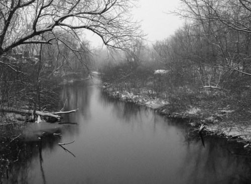 Paran Creek in snow from North Street bridge.