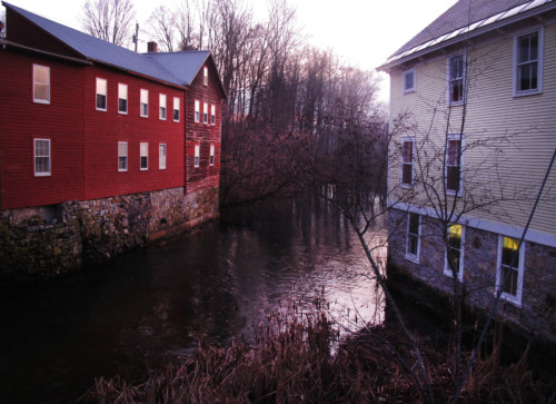 Red mill and old fire station along Paran Creek.