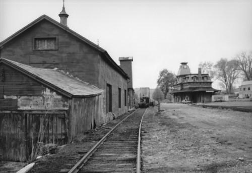 Train station and side track, c1970.