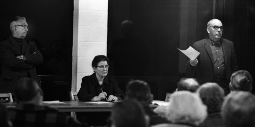 Village meeting 1970.  Ed Luce, Phoebe Crosier, Fred Welling. Photo by Ty Resch.