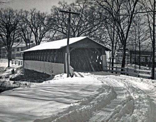 Burt Henry Bridge in winter circa 1950